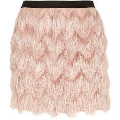 Light pink fringed mini skirt ❤ liked on Polyvore featuring skirts, mini skirts, mini skirt, pull on skirts, fitted skirts, pink mini skirt and short fringe skirt