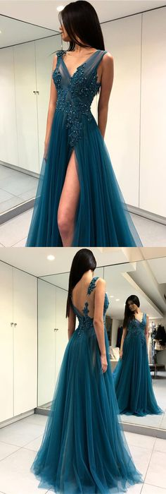 Long Tulle Lace Embroidery Teal Prom Dresses 2018 Sexy Leg Split Evening Gowns