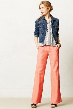 Oh, thank you, dear Anthro! Coral, wide leg, and linen. It's like a dream!!! So long, skinnies! Let the pear shaped rejoice!