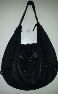 Betsey Johnson Black All Leather Large Hobo purse - Handbag Lucky horseshoe  #BetseyJohnson #ShoulderBag
