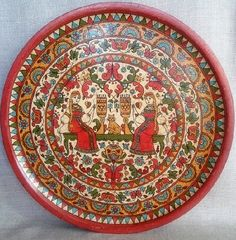 Plate 'Maid beauty'. Decorative plate hand-painted in Severodvinsk style