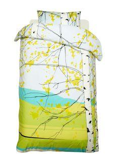 Kaiku duvet cover set (white,light blue,green,black)  Décor, Bedroom, Duvet covers   Marimekko