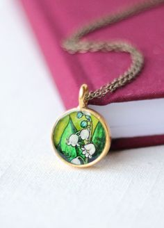 Lily of the Valley hand painted necklace