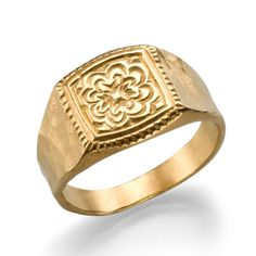 Gold Signet Ring, 18K Gold Plated Ring, Unisex Ring, Unique Rings, Mens Signet Ring, Fashion Rings, Statement Ring