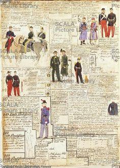 ******** Militaria, Italia XIX secolo. Uniformi varie dello Stato Pontificio, 1860-1864. Tavola dal Codice Cenni.