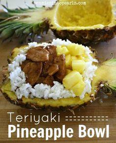 Teriyaki Chicken Pineapple Bowl -  penniesintopearls.com -  Yummy pineapple recipes and fun fair food recipe