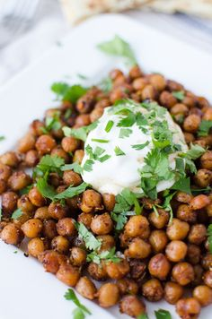 Roasted Indian Chickpeas with Tamarind Sauce, Yogurt and Cilantro #healthy #roasted #chickpeas