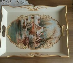 Tepsi Shabby Vintage, Vintage Metal, Decoupage Wood, Shabby Chic Flowers, Painted Trays, Wood Burning Patterns, Tray Decor, Paint Furniture, Pictures To Paint