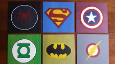 DIY wall art for boys room - superhero logos - this could probably be done with T-shorts from Walmart Boys Room Decor, Kids Bedroom, Superhero Boys Room, Ideas Dormitorios, Art For Kids, Crafts For Kids, Diy Wall Art, My Living Room, Playroom