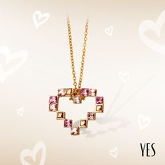 Pozłacany naszyjnik z różowymi kryształkami Swarovskiego.   Cena: 139 PLN  http://www.yes.pl/51949-yes-love-collection-AB-S-000-ZLO-ANCL311