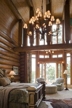 Master Bedroom Yes Please And Someone To Change The Light Bulbs When They Log Cabin