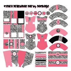 Hot Pink Zebra Birthday Party Printable Package by LuxePartySupply, $16.99