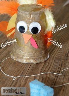 gobbling turkey craft kids cup