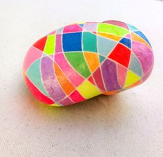 Hand Painted Stones Abstract Pebble Colourful Art by ColorBakalito