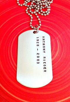 For men - Dog Tag Necklace Personalized Hand Stamped by ForeverHeartPrints, $38.00