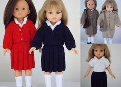 """School Days - PDF Doll Clothes knitting pattern for 13"""" Les Cheries doll & 12.5"""" Paola Reina doll"""