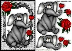 Little Grey Elephant In Black Lace Frame With Red Rose