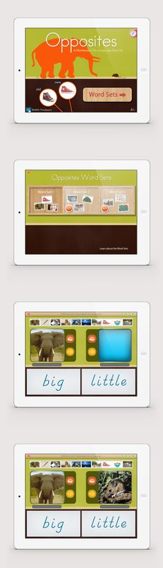 Opposites Pre-Language app by Mobile Montessori. This app is used in schools and with autistic children to present the concept of antonyms. // montessori app iPad app montessori education at home preschool apps kindergarten apps
