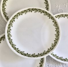 4 Vintage Corelle Spring Blossom/Crazy Daisy Salad/Luncheon Plates with Green Floral Pattern by EastSideBazaar on Etsy Daisy Pattern, Indiana Glass, Spring Blossom, Side Plates, Vintage Pyrex, Cup And Saucer Set, Milk Glass, Dinnerware, Tea Pots