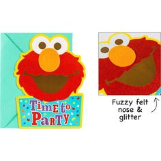 Premium Glitter Elmo Invitations 8ct