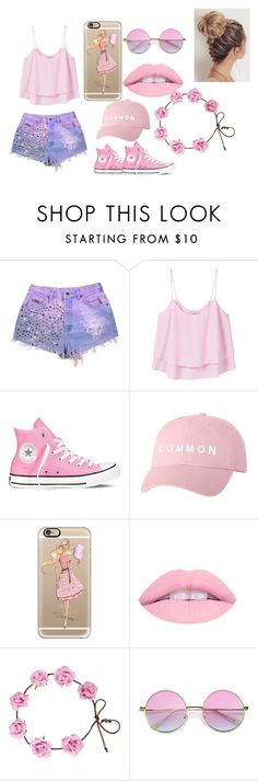 """COTTON CANDY"" by rebeccasilvany ❤ liked on Polyvore featuring beauty, MANGO, Converse and Casetify"