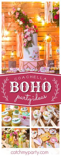 Take a look at this fabulous Bohemian Coachella birthday party! The cookies are adorable!! See more party ideas and share yours at CatchMyParty.com #birthdayparty #bohemian