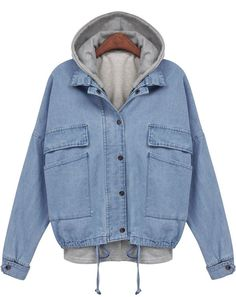 huge selection of e6dad 41fb3 Jean jacket with grey hoodie sheinside.com Hooded Jean Jackets, Outerwear  Jackets, Denim