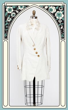 1900s Edwardian Embroidered Linen Summer Walking Suit Jacket