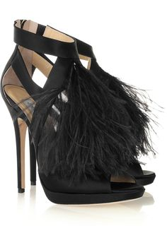 Feathers, why, yes please!    Jimmy Choo | Teazer feather-trimmed satin sandals | NET-A-PORTER.COM