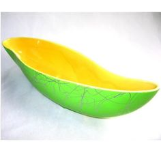 Shawnee Mod Neon Green Console Bowl Planter Vintage This is similar to Shawnee planter just received from my Uncle but exterior has little different look. Very unique.