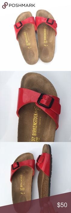 Birkenstock Madrid Sandal in Birko-Flor Kirsch Adorable Birkenstock Madrid's in a red color. Comfortable and great everyday shoes. According to Birkenstock size chart, a size 37 fits a 6-6.5 US. Birkenstock Shoes Sandals
