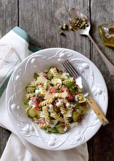 Pasta Salad With Zucchini Tomatoes Basil Capers Zucchini Tomato, Tomato Basil, Fusilli, No Dairy Recipes, Low Fodmap, Pasta Salad, Squash, Tomatoes, Potato Salad
