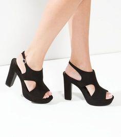 Black Suedette Cut Out Block Heels | New Look
