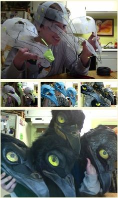 "COSPLAY IS PAIN is part of eye-makeup - savedchicken "" Heres all the WIP pictures together in hopes that they help show the process for people! Materials used are listed as captions! QUQ Paper mache technique for 3 is HERE My Halloween Prop, Masque Halloween, Funny Halloween Costumes, Halloween Crafts, Halloween Makeup, Halloween Decorations, Cosplay Diy, Cosplay Costumes, Zombie Cosplay"
