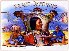 Peace Offering Indian & Cavalryman Vintage Smoke Cigar Box Crate Label Art Print