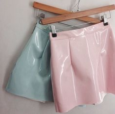 Mint & Pale Pink Vinyl Mini Skirts