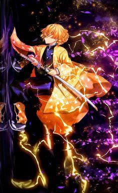 demon slayer kimetsu no yaiba zenitsu kimetsu n Manga Anime, Fanarts Anime, Anime Demon, Otaku Anime, Anime Characters, Demon Slayer, Slayer Anime, Kawaii Anime, Zenitsu Kimetsu No Yaiba