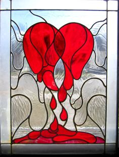 Weeping  Heart Stained Glass Window Stained Glass by cutiepa2d, $800.00