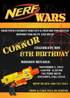 NERF Birthday Invitations Perfect for my little guys 8th Birthday