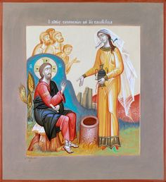 St. Photini the Samaritan at the Well with Christ by George Kordis