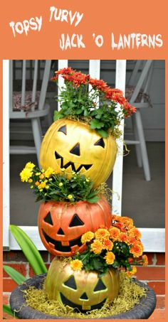 Cheap, plastic pails made into the cutest planters for fall!