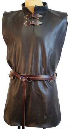 Medieval-LARP-Re-enactment-Mens-LEATHER-JERKIN-in-Brown-or-Black-Costume
