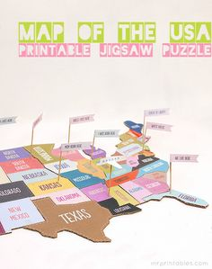 Printable map of usa jigsaw puzzle. Print and glue to cardboard, then cut out with craft knife. Attach flags to toothpicks, cut off sharp ends, and poke holes in puzzle pieces so kids can answer questions and put the flags in the correct states.