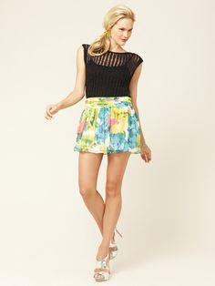 Kayla Pleated Waist Chiffon Mini Skirt in Sunflower Print by Alice + Olivia
