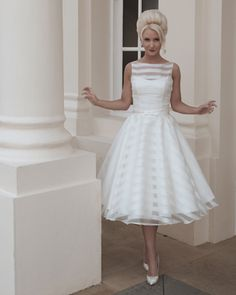 Ten Short Wedding Dresses #wedding #bridalwear #weddingdresses, love the stripes!