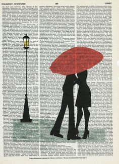 Dictionary Print Art Couple Under Red Umbrella on Upcycle Vintage Page Book Print Art Print Dictionary Print Collage Print by SheriDictionaryPrint on Etsy