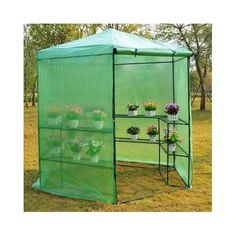 """This open """"walk in"""" portable greenhouse utilizes lightweight, yet sturdy, PVC coverings built over a powder-coated steel frame. The combination of these two"""