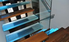 glass wood stairs house