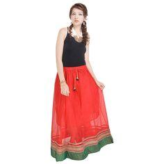 Indigocart Ethnic Red Pure Cotton Skirt