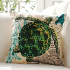 Blue and Green French-Themed Turtle Pillow | Kirklands
